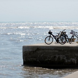 bicycles on a pier