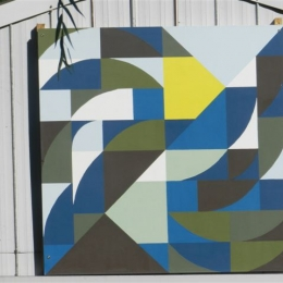 Blue, White and Yellow Barn Quilt